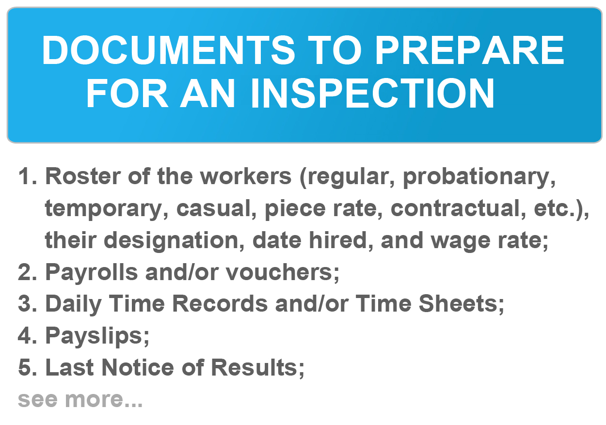 Documents to Prepare for an Inspection